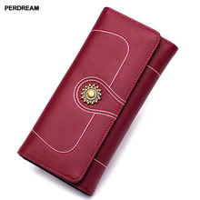 2018 the new European and American female long wallet, cowhide Vintage Wallet, money, eighty percent off more cards, hands,
