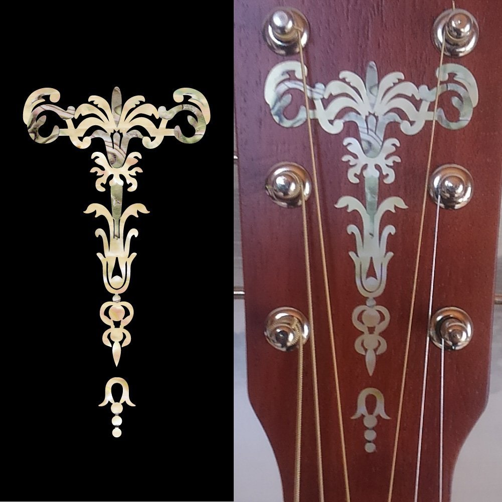 2 Colors Set Inlay Sticker Decal for Ukulele Headstock Torch