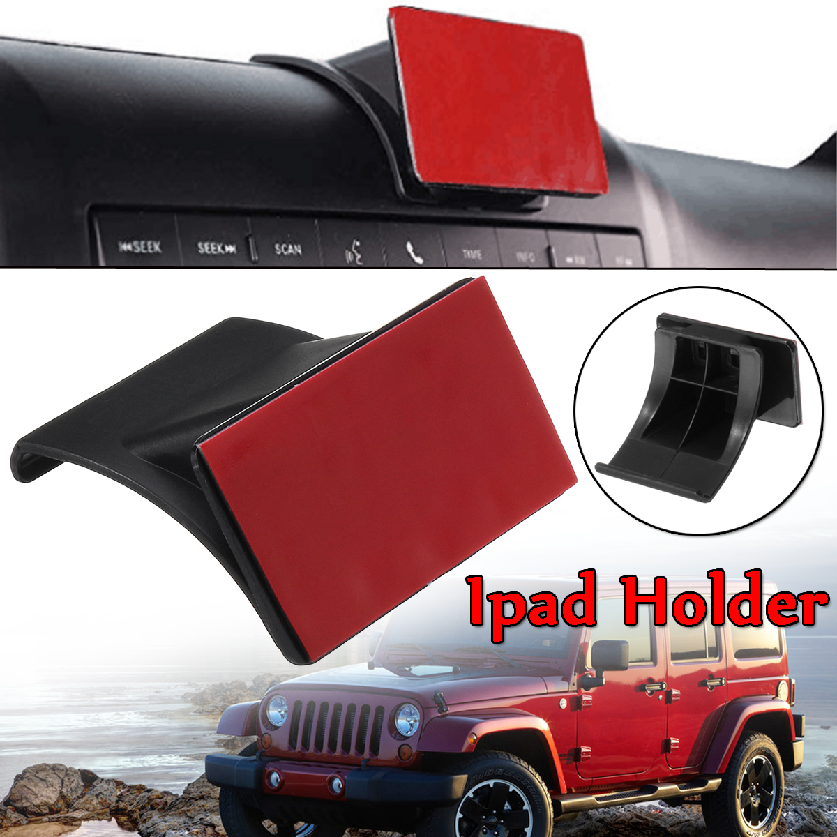 New Car For Ipad Stand Holder Adjustable For Jeep For Wrangler 2011-2017 JK Phone Tablet PC ABS Dashboard Dash Mount Holder