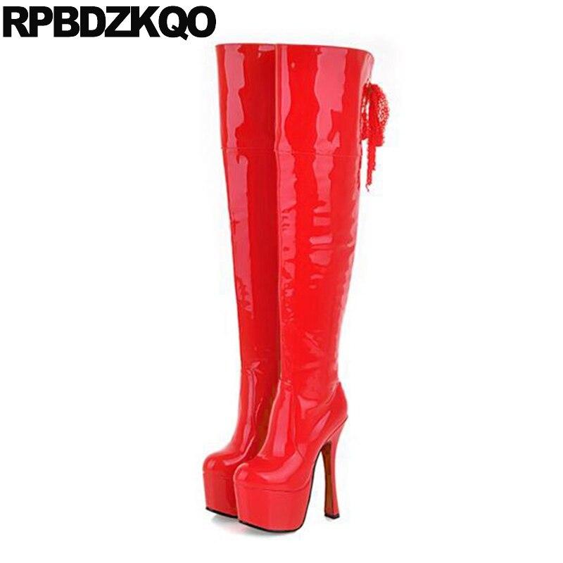 b367715113 Prova Fetiche Mulheres Botas Novas Patente D água Plataforma Dança Branca  Sapatos Damas Couro Inverno Salto Preto Alto ...