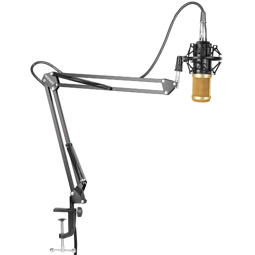 Neewer NW-800 Studio Broadcasting Recording Condenser Microphone+NW-35 Adjustable Recording Mic Suspension Scissor Arm Stand 3 5mm jack audio condenser microphone mic studio sound recording wired microfone with stand for radio braodcasting singing