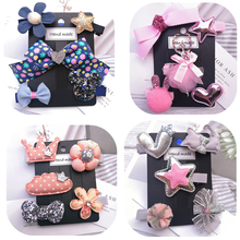 5pcs/set various kids girl hair accessories cartoon animal flower crown hair clip for girls Gradient rainbow hair bows barrette цены
