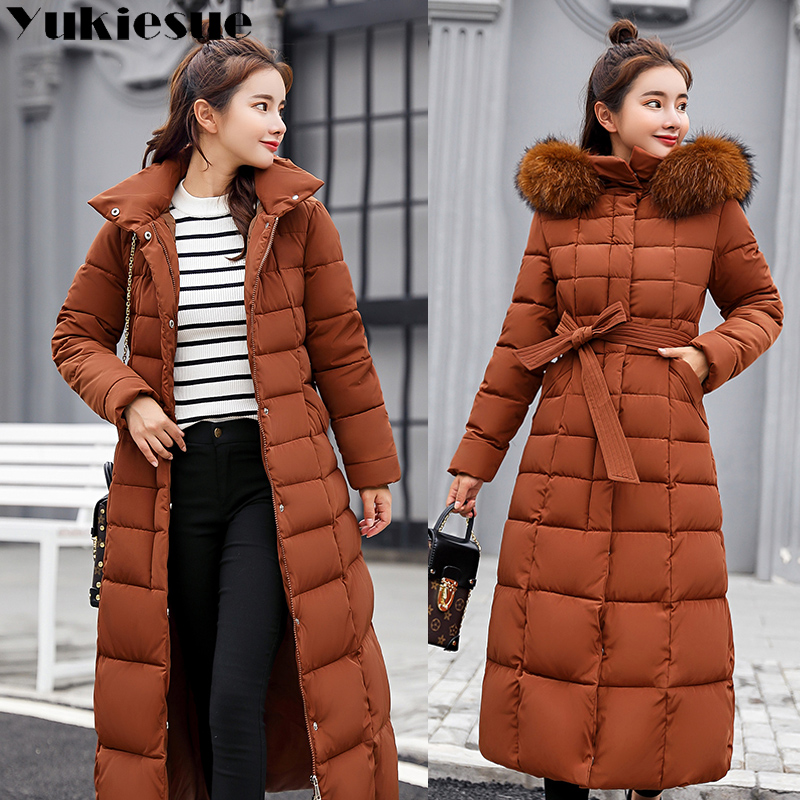 Long warm thicken winter jacket women snow wear cotton padded outerwear for women womens coat plus size faux fur collar   parka