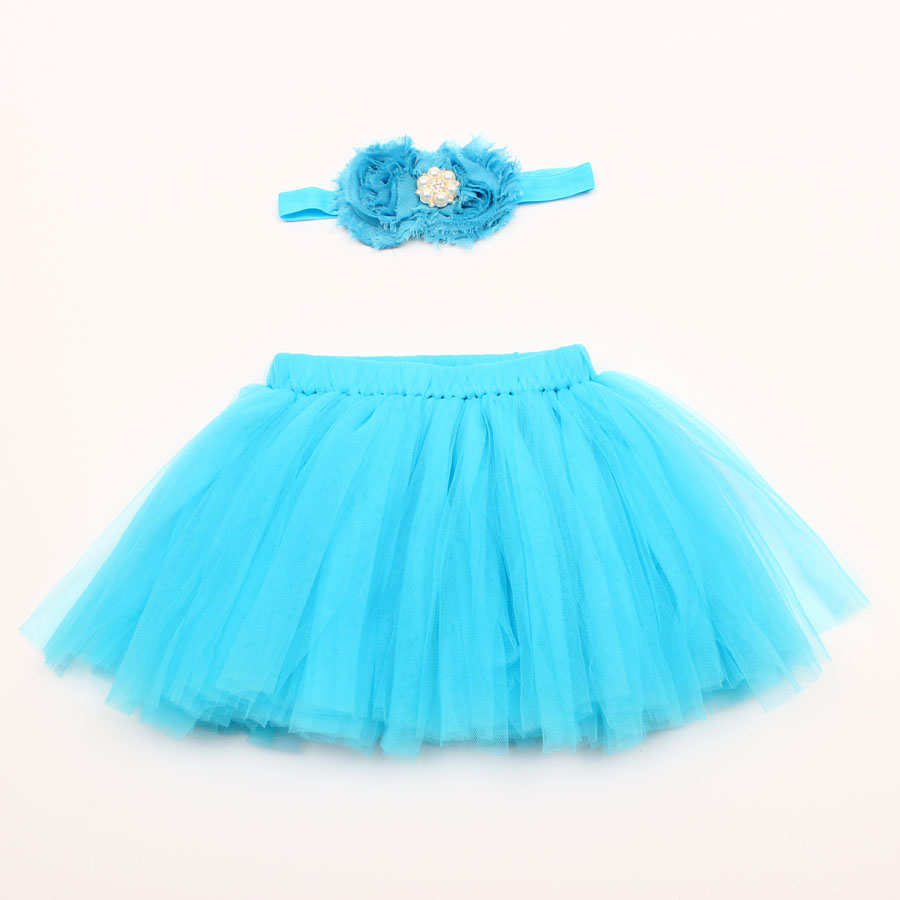 Top Sale Baby Girl Tulle Tutu Skirt and Flower Headband Set Newborn Photography Props Baby Birthday Gift 10 Colors ZT001
