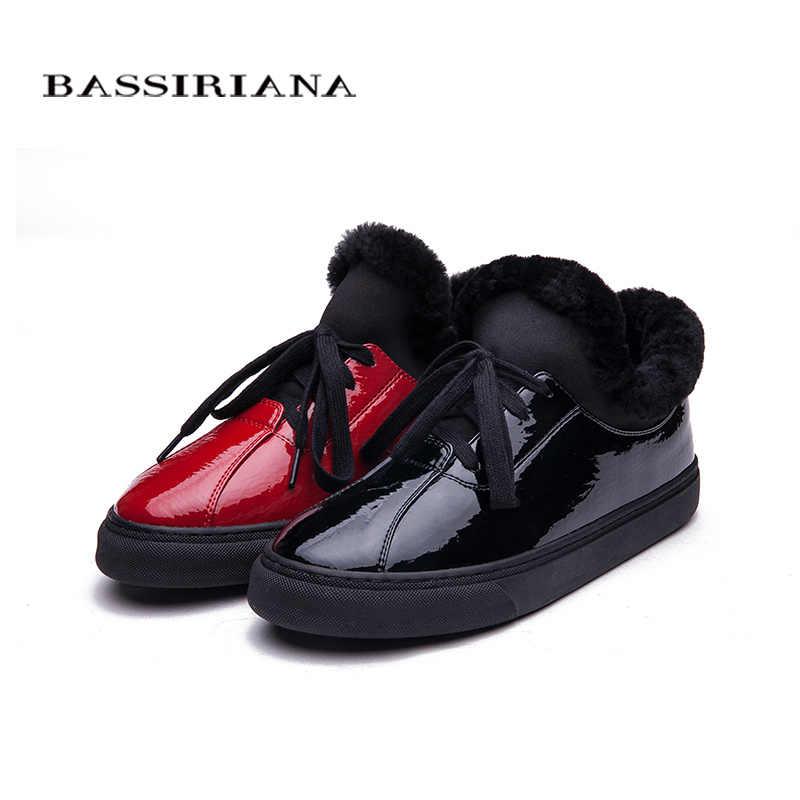 BASSIRIANA-Mùa Đông Phụ Nữ khởi động Giày Sang Trọng của Phụ Nữ độn Bông Xu Hướng Giày Tự Động Phụ Nữ Giày Ấm Áp Phụ Nữ