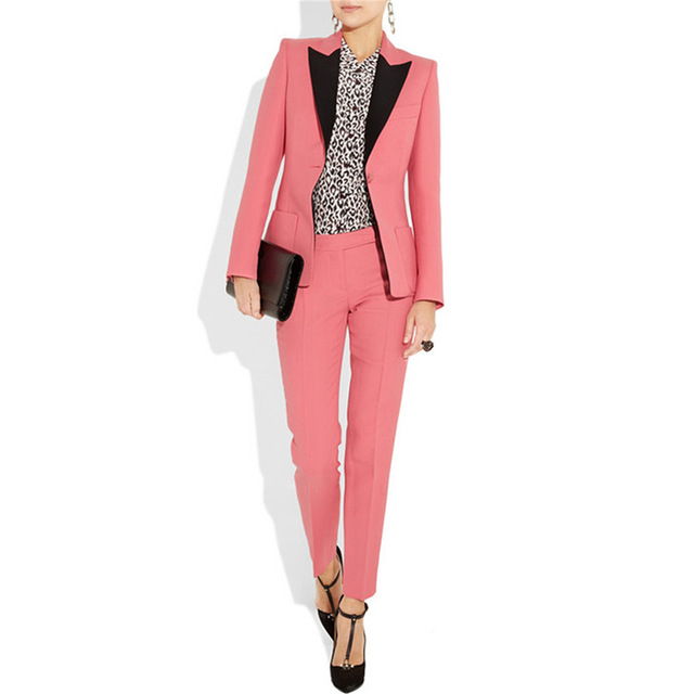 Watermelon Red Womens Business Suits 2 Pieces Pants Jacket Female Office Uniform Trouser Suits Formal Womens