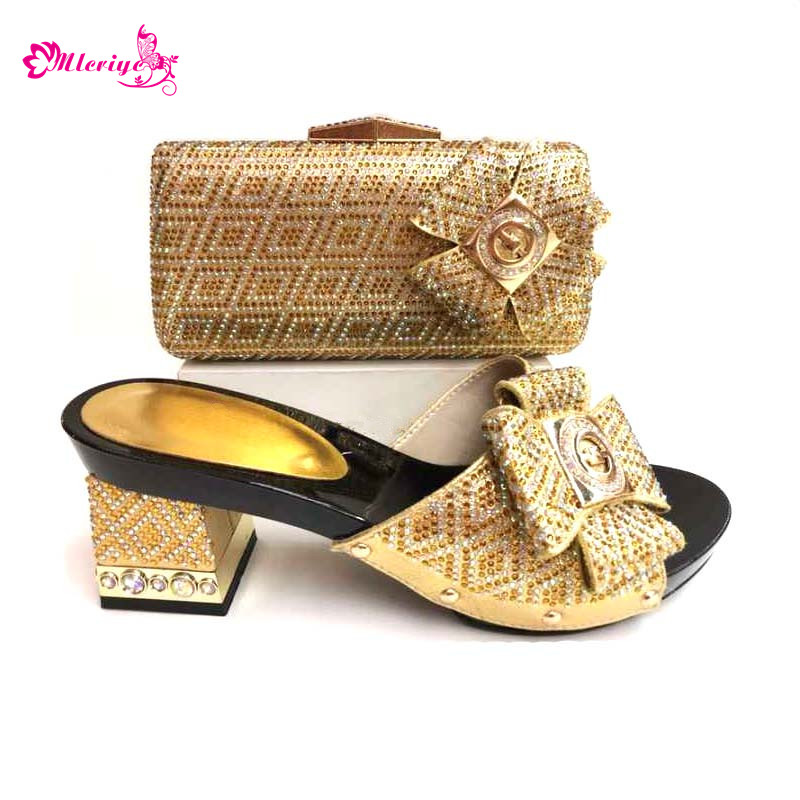 0039 fashion gold color Italian Shoes With Matching Bag High Quality Italy Shoe And Bag set For wedding and party