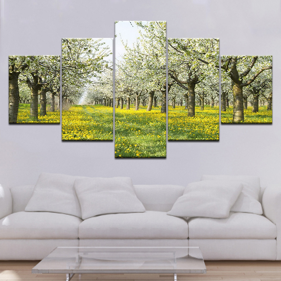 Trees and yellow flowers landscape 5 Panels HD Print Wall Art modern Modular Poster art Canvas painting for Living Room Decor in Painting Calligraphy from Home Garden