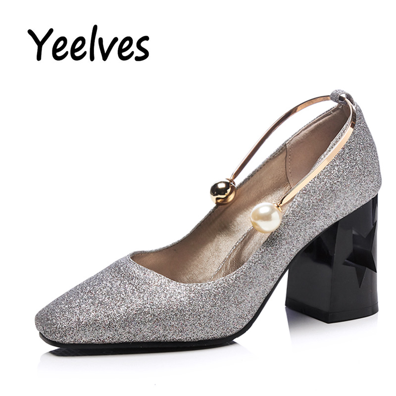Yeelves Women Fashion Squuined Cloth OL Pumps Fretwork Heel String Bead Mary Janes Shoes High Thin Heel Pointed Toe Ladies Pumps