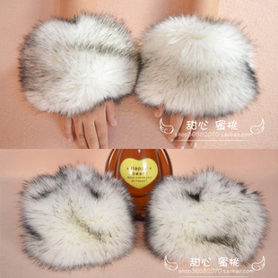 Large Faux Fox Fur Gloves Cuff Plus Size Fox Fur Hand Ring Fur Wrist white,black,gray,black with white