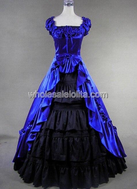 2d8a495c9787c ̿̿̿(•̪ )Kraliyet Mavi victorian elbise kostüm - w309