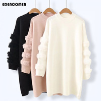 Plus Size Women Clothing 2017 Autumn and Winter New Fashion Fur Sleeve Long Women's Pullover Sweater Render Knitting Sweaters