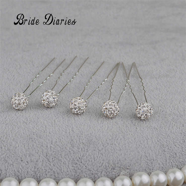 Bride Diaries 5 Pcs U Shape Hair Sticks Clip Vintage Pins Wedding Accessories Rhinestone