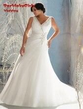 BacklakeGirls Beaded Crystal A Line Wedding Dress Organza V-neck Plus Size Bride Gowns Custom Made Vestidos De Novia 2017