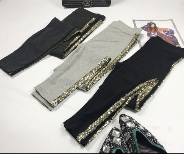 Spring Summer Pencil Pants Women Fashion Sequins Side Striped Cotton Pants Girls Ladies New Autumn Grey Stretch Trousers Femme