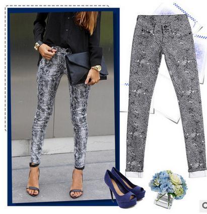 Léopard Pantalon Blue Couleur Élastique J1217 Américain Longueur Automne Taille Printemps Casual dark Femmes Européen Et Pleine Crayon Bonbons Black UFfzxwvY