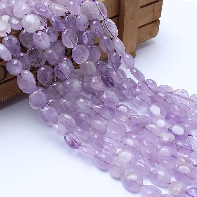 Natural Stone Beads 8-10mm Irregular Light Amethyst Purple Crystal Stone Beads For Jewelry Making Bracelet Necklace 15inchesNatural Stone Beads 8-10mm Irregular Light Amethyst Purple Crystal Stone Beads For Jewelry Making Bracelet Necklace 15inches