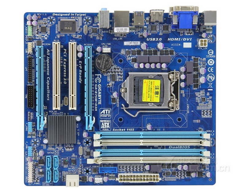 original motherboard for Gigabyte GA B75M D3H LGA 1155 DDR3 boards B75M D3H 32GB VGA DVI b75 Desktop motherboard Free shipping