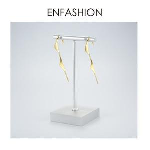 Image 5 - ENFASHION פאנק גל פשוט Stud עגילים לנשים זהב צבע הצהרת עקומה גיאומטרית עגילי תכשיטים Oorbellen EC1070