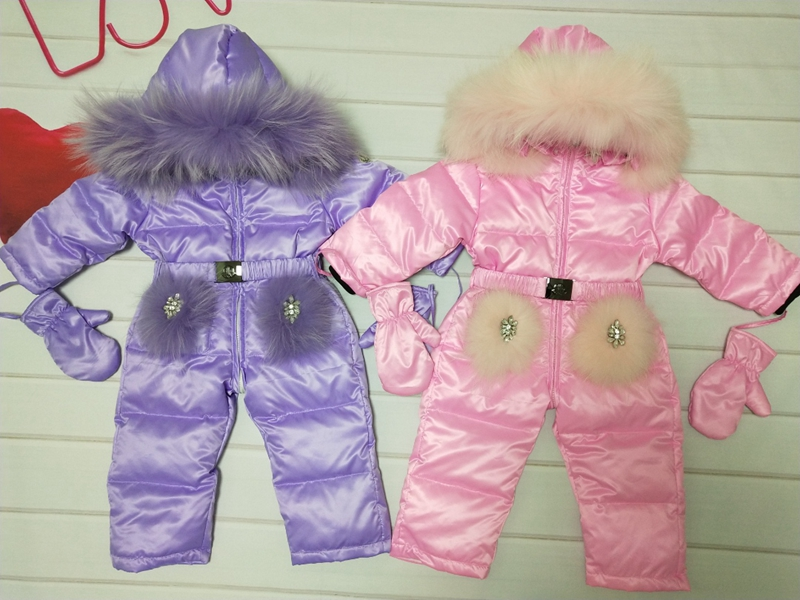 Real fur hooded 2019 Winter Jacket child jackets children jumpsuit snow suit girl floral limbing down romper ski suits outerwear