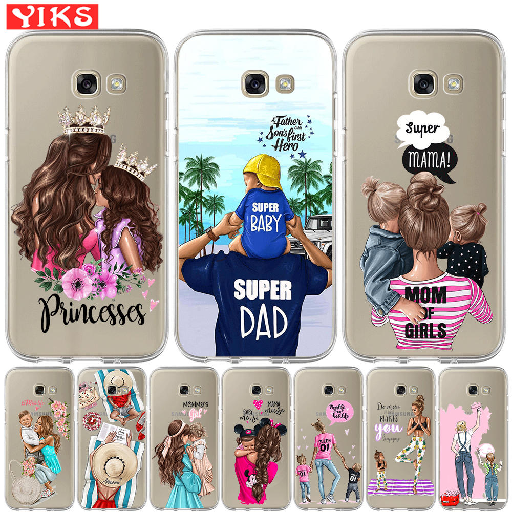 Sweet Family Super Mom Dady Baby Girl Phone Case For <font><b>Samsung</b></font> Galaxy A20 A30 A50 <font><b>A3</b></font> A5 A6 A7 A8 Plus 2015 <font><b>2016</b></font> 2017 2018 Cover image