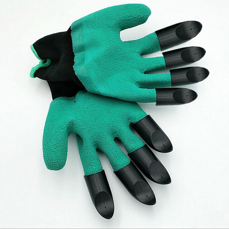 New 1 Pair Rubber+Polyester Safety Work Gloves Builders Grip Gardening <font><b>Digging</b></font> Planting Gloves Mittens Garden Gloves with Claws