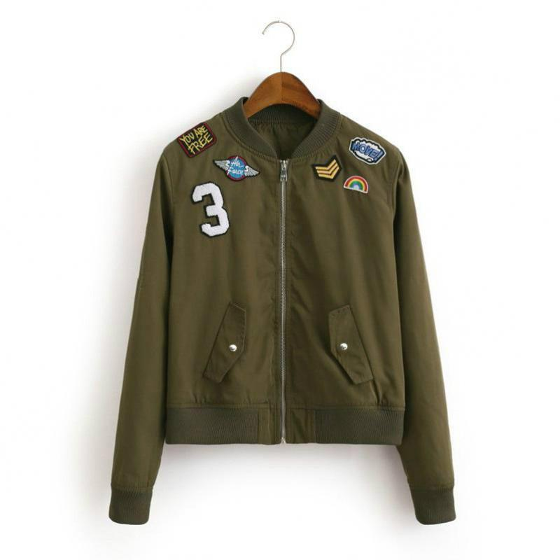d2d3f02c Spring And Autumn Women's Jacket European And American Style 2018 Fashion Army  Green Sticker Badge Women's Short Jacket-in Basic Jackets from Women's ...