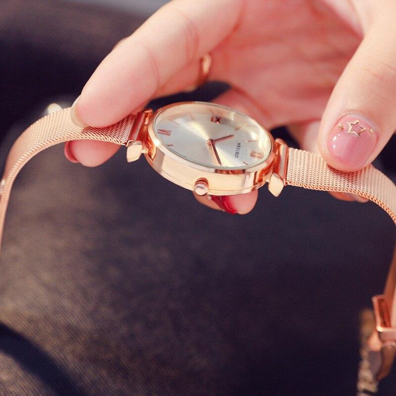 Luxury ladies watch magnet stainless steel mesh starry sky fashion diamond female luminous shining quartz watch relogio feminino in Women 39 s Watches from Watches