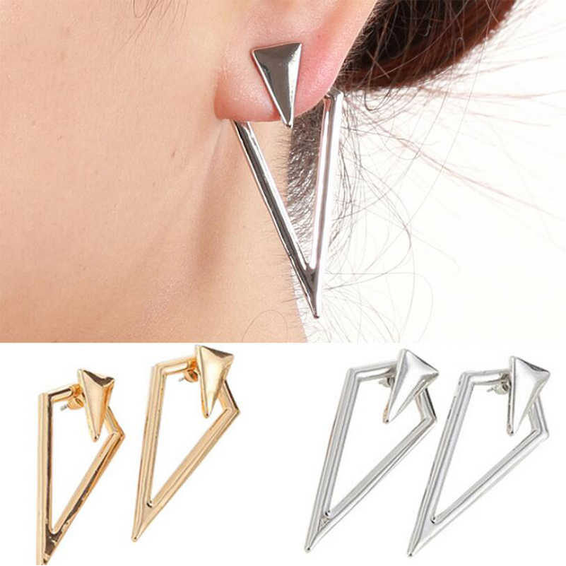 Shuangshuo Punk Triangle Earring Jackets Geometric Silver Earring Jackets Long Earrings for Women Fashion Earrings 2018