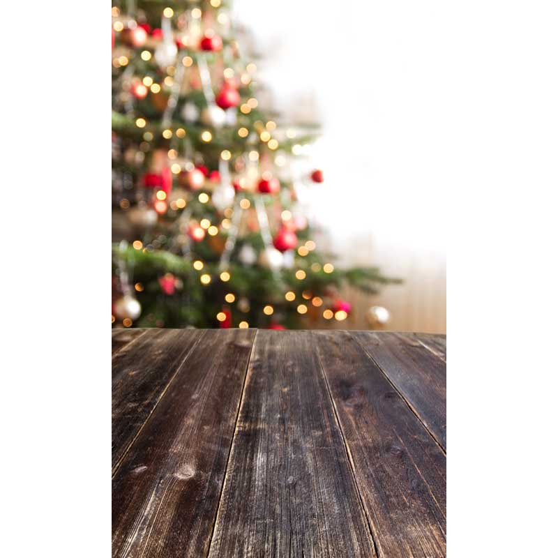 Christmas tree bokeh vinyl cloth wood floor photography backdrops for children newborn party photo studio portrait backgrounds