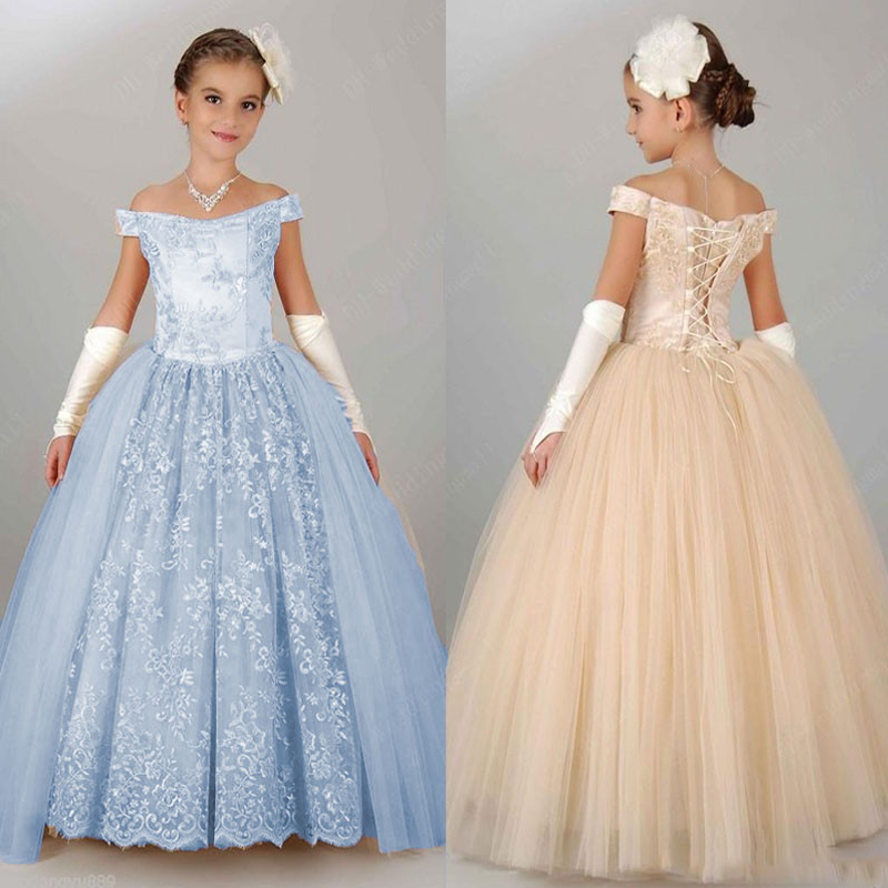 Ankle-Length Flower Girls Dresses for Wedding Lace Holy Communion Dresses Ball Gown Kids Evening Gowns Mother Daughter Dresses stunning elegant lace appliques half sleeves ruffles floor length heirloom white holy communion kids dresses 0 12 y girls gowns
