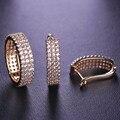 Blucome clássico praça cz zircon conjuntos de jóias brincos pequenos do parafuso prisioneiro & anel de cobre para as mulheres cristais completa três linhas de femmes bijoux