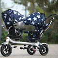 New update rubber wheel good quality Child tricycle twins stroller double three trolleys bike swivel seat baby car