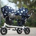 Nueva actualización rueda de goma buena calidad gemelos triciclo Niño cochecito doble tres carros de bicicleta giratorio asiento de coche de bebé