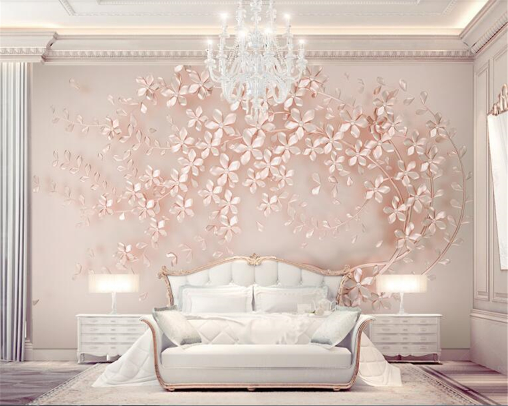 Us 855 43 Offbeibehang Wallpaper Luxury And Elegant 3d New Flowers Rose Gold Wallpaper Mural Tv Background Painting Wall Papers Home Decor In