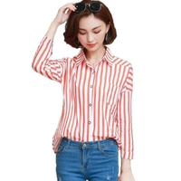 Fashion Striped Women Blouses 2017 New Autumn Long Sleeve Loose Shirt Women Tops Casual Plus Size S-2XL Blouse Camisas Mujer