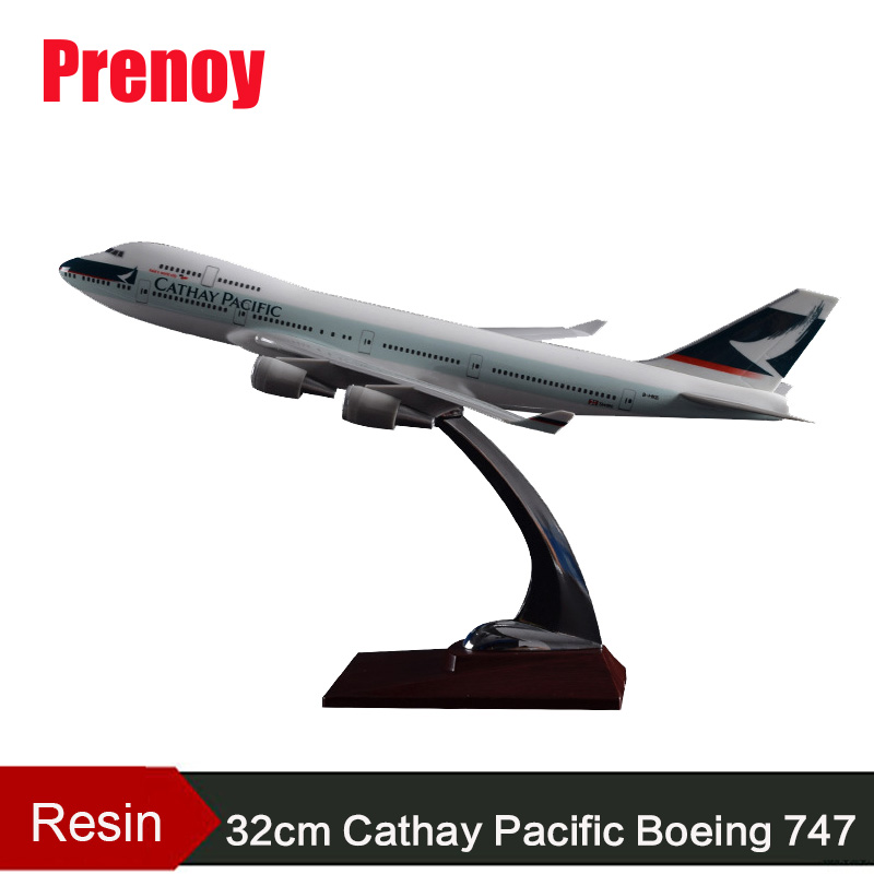 32cm B747 Cathay Pacific Resin Aircraft Model Boeing 747 Airplane Airways Model HongKong International Aviation Plane Model B747 phoenix 11079 airlines b747 8f vq bvc silkway 1 400 commercial jetliners plane model hobby