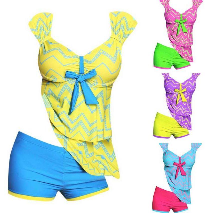 VVTS Plus Size Swimwear Women Girl Swimsuit Sexy Tankini Set One-piece Suits Print Padded Bandage Bathing Swimdress Sets 5XL