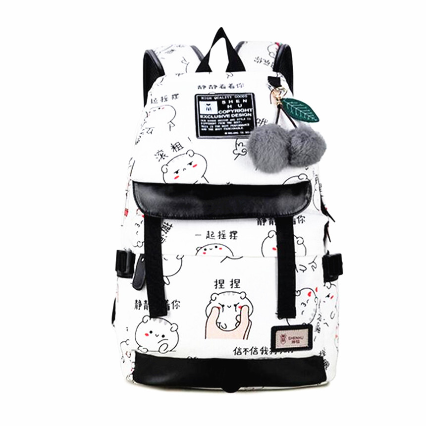 kawaii canvas bag school backpacks for teenage girls school bags women travel laptop backpack usb book bag pack girl schoolbag ...