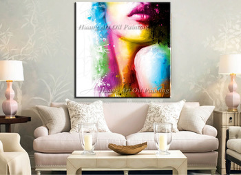 Handmade Modern Figure Oil Painting Colorful Women Face Fine Art Canvas Character Painting for Home Decor