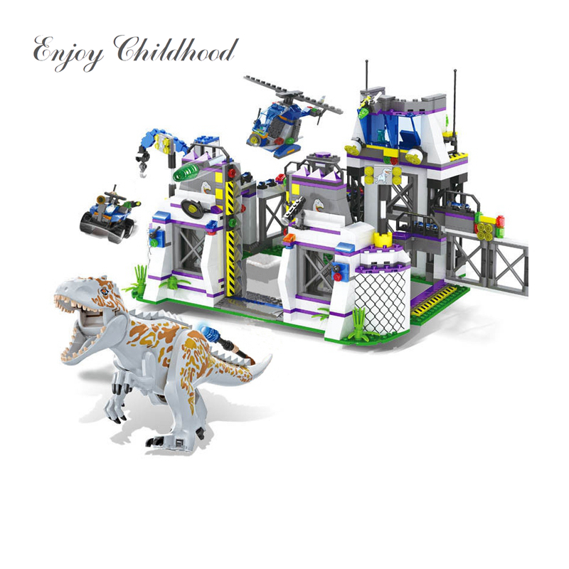 Base de Dinossauros Tiranossauro TS8000 Fuga Blocos Tijolos Crianças Brinquedos Para As Crianças Natal Presente Legoings Jurássico Parque Mundos
