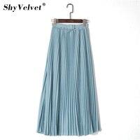 Плиссированная юбка синего оттенка