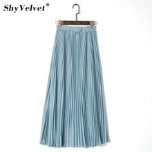 Elegant Women Long Skirt Bohemian High Waist Chiffon Skirt With Belt Beach Pleated Skirts Solid Tulle Maxi Saias Pink Blue Khaki