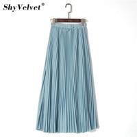 fbb12719811185 Elegant Women Long Skirt Bohemian High Waist Chiffon Skirt With Belt Beach  Pleated Skirts Solid Tulle