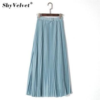 Bohemia Azul Larga Con Chifón Alta Cinturón Cintura Mujer Rosa Maxi Faldas Tul De Elegante Saias Caqui Falda Sólido Playa Plisada 8SxdwqU00