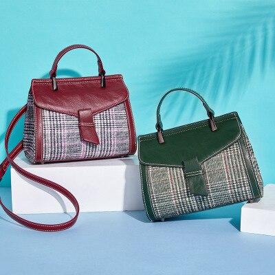 Handbag Retro Check-Bag Women's Bag Shoulder-Diagonal-Bag Fashion Wild