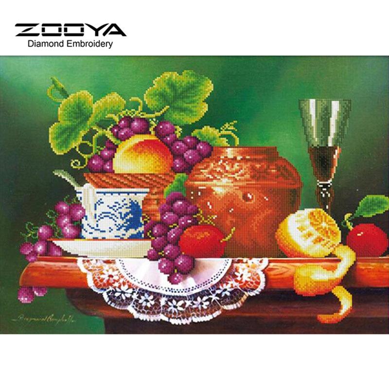 ⊱5d DIY diamante pintura fruta Cuadros de punto de cruz fruta uva ...