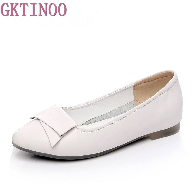 Spring and Autumn Fashion Flats Women Pointed Toe Soft Outsole Flat Heel Shoes Genuine Leather Casual Flats Plus Size 34-43 genuine cow leather spring shoes wedges soft outsole womens casual platform shoes high heel round toe handmade shoes for women