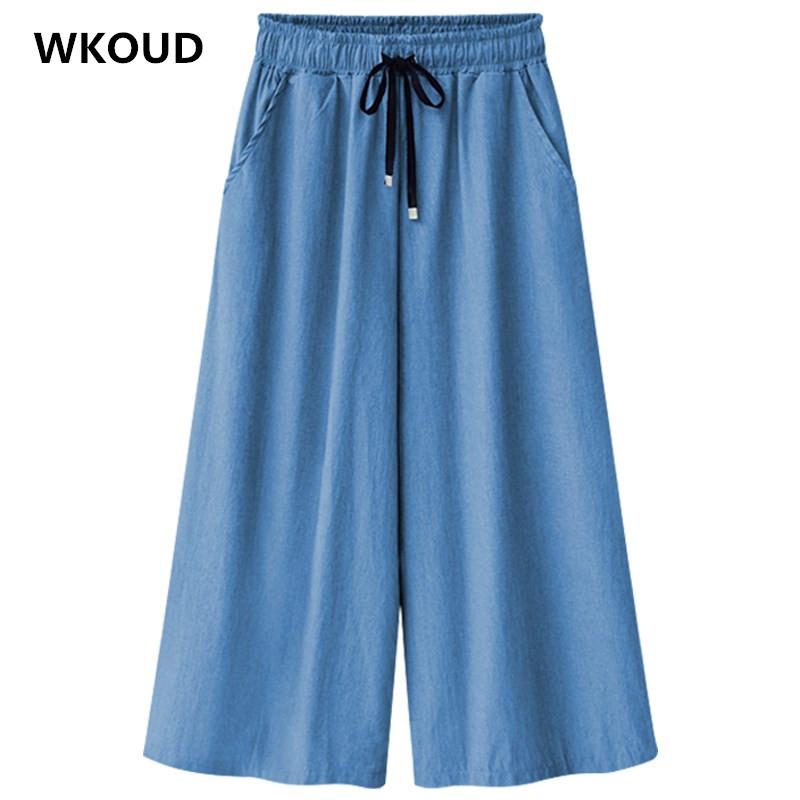WKOUD Women Demin   Pants   High Waist Solid Streetpants 2019 Fashion Plus Size Jeans Loose Streetwear Casual   Wide     Leg     Pants   P8906