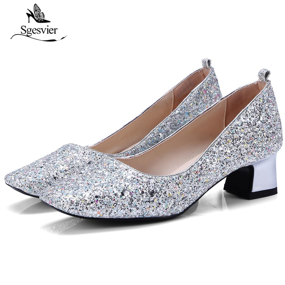 Femmes Femme Ol Épais B567 Mode 34 Chunky Square Robe Parti Toe Pompes 43 argent Silver Talons New Chaussures Sgesvier Lady Taille Or Or Xxq0aOAa